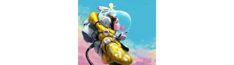 MOBILE-Yellow Space Suit Girl Live Mobile Wallpaper